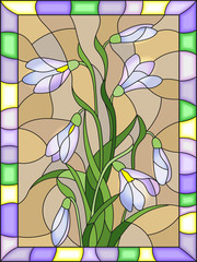 Obraz na PlexiIllustration in stained glass style with bouquet of white snowdrops on a beige background in a bright frame