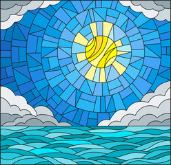 Obraz na Plexi Illustration in stained glass style with sea landscape, sea, cloud, sky and sun