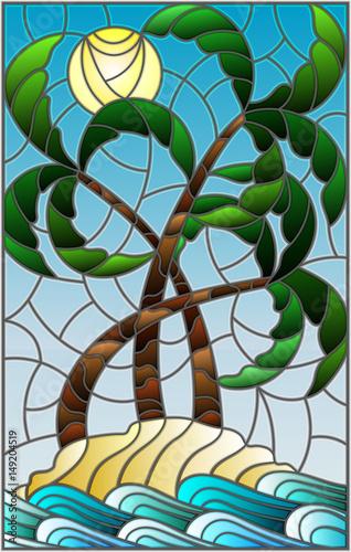 ilustracja-w-witrazu-stylu-z-tropikalnym-morze-krajobrazem-kokosowi-drzewa-na