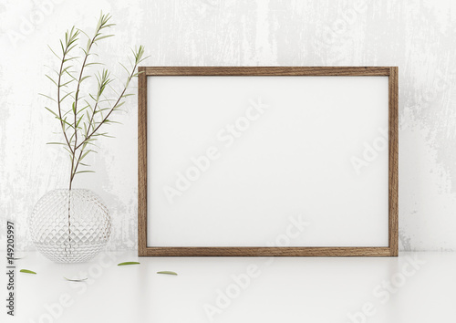 Horizontal Frame Poster Mock Up With Green Plant In Vase White