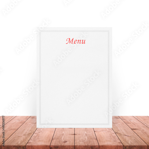 Blank Menu Paper Notepad On Wooden Table Top At White WallTemplate Mock Up For