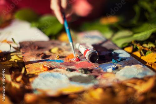 Fototapeta mixing paints. backrgound obraz na płótnie