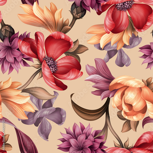 Fotobehang Bloemen seamless floral pattern, wild red purple flowers, botanical illustration, colorful background, textile design
