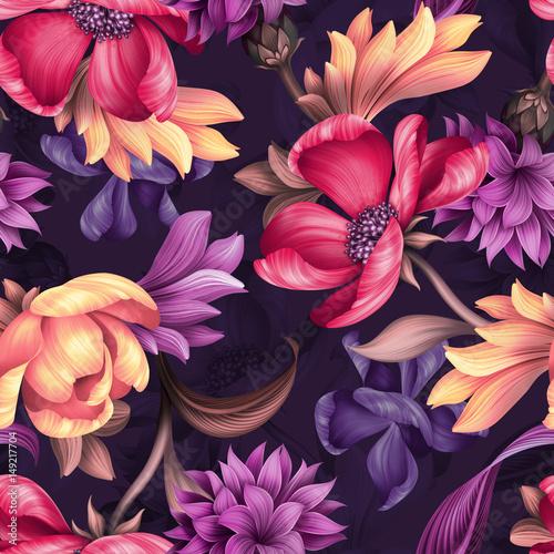 Foto op Canvas Bloemen seamless floral pattern, wild red purple flowers, botanical illustration, colorful background, textile design
