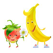 Strawberry and banana. Character. Love story. Vector.