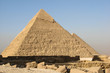 View of the Pyramids of Khafre and Khufu in Giza