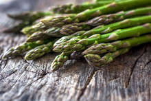 Fresh Organic Asparagus On Rus...