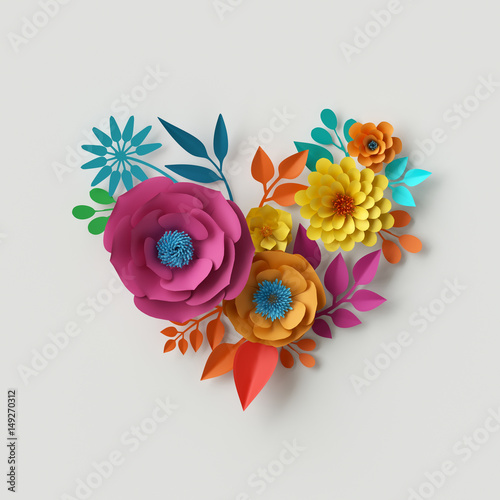 3d render digital illustration abstract colorful paper flowers 3d render digital illustration abstract colorful paper flowers quilling craft handmade festive mightylinksfo
