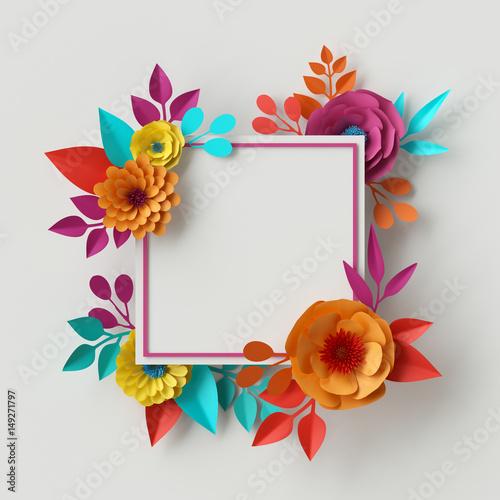 3d render digital illustration abstract frame colorful paper 3d render digital illustration abstract frame colorful paper flowers quilling craft mightylinksfo