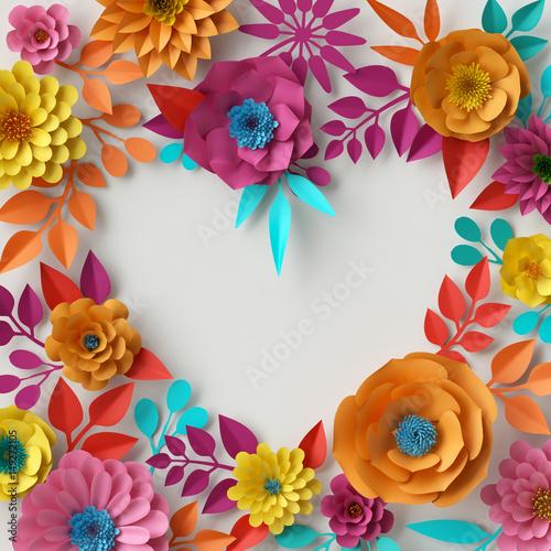 3d Render Digital Illustration Abstract Colorful Paper Flowers Wallpaper Spring Summer Background
