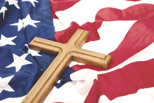 American Flag With A Wooden Crucifix