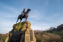 Royal Scots Greys Memorial Statue On Princes Street, Edinburgh, United Kingdom.