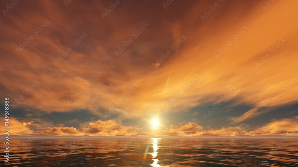 Fototapeta blue sky with golden clouds in the ocean
