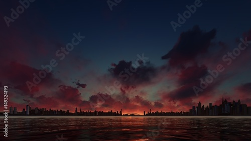 dark-sunset-behind-a-skyscraper