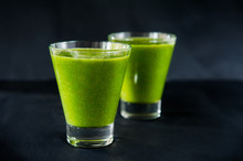 Two Glasses Of Healthy Green S...