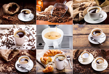 Fototapeta Do kawiarni coffee collage of various cups