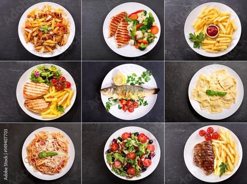 Obraz set of various plates of food - fototapety do salonu