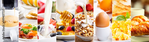 Stampa su Tela collage of healthy breakfast