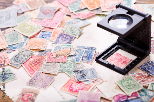 Old postage stamps from various countries Fototapet