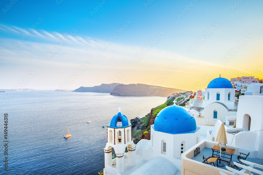 Fototapety, obrazy: Classical view from sunset point at Oia village white and blue architecture, Santorini island, Greece. Incredible evening scenery.