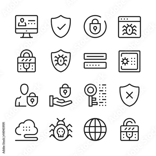 Photo  Computer security line icons set