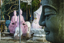 Buddha Statues Near Quang Minh Mahayana Buddhism Temple In Da Nang, Vietnam