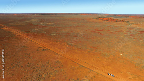 Canvas Prints Cuban Red Cordillio Downs Road - lonely vehicle Australian Outback