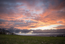Beautiful Sunset Over Meadow W...