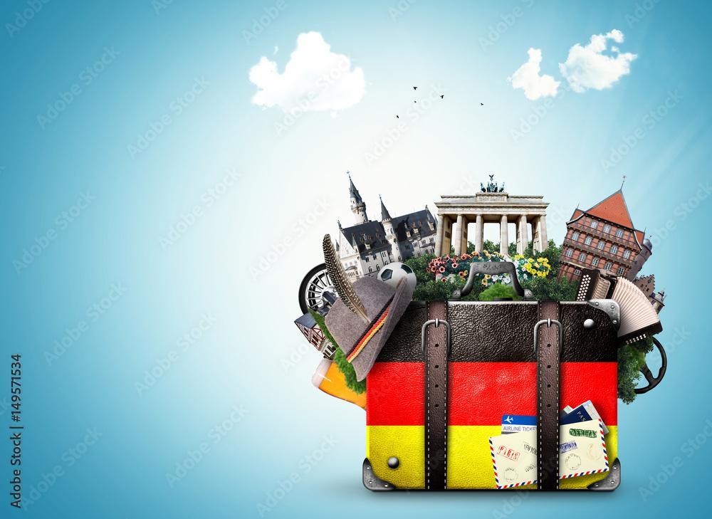 Fototapeta Germany, german landmarks, travel and retro suitcase