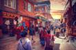 Leinwanddruck Bild - streets of Kathmandu