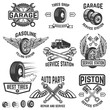 Garage, service station, auto parts store, filling station badges. Design element for logo, label, sign. Vector illustration