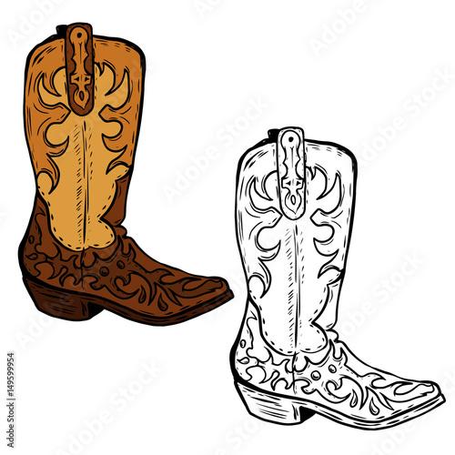 Obraz na plátne Hand drawn Cowboy boots illustration