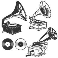 Set Of Gramophone Illustrations On White Background. Design Elements For Logo, Label, Emblem, Sign. Vector Illustration