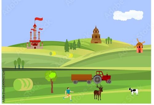 In de dag Lime groen Countryside vector illustration of russia landscape