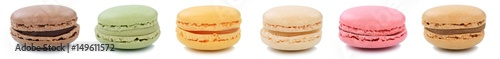Tuinposter Macarons Macarons Macaroons Kekse Sammlung Nachtisch Dessert aus Frankreich in einer Reihe Freisteller