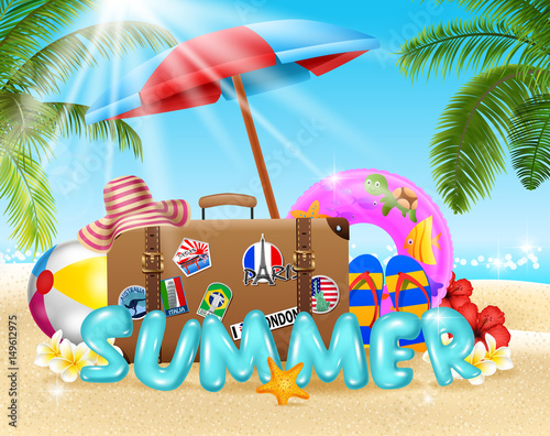 Fotobehang Draw Summer vacation background