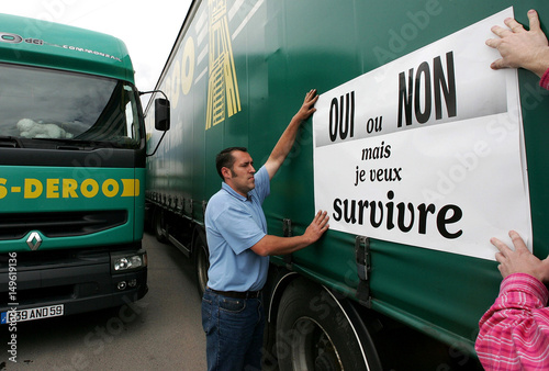 Road transport staff stick protest poster referring to