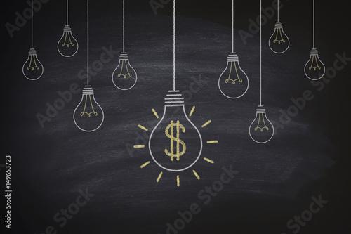 Fototapeta  Big money bulbs on blackboard