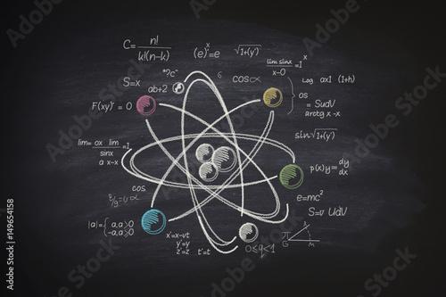 Atomic molecule on blackboard