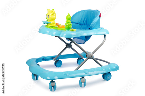 Photo  Baby walker with toys isolated on white