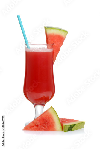 Fotografía  watermelon smoothie with straw and fruit slices