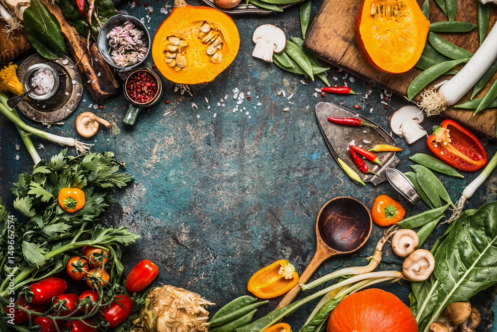 Fototapety, obrazy: Healthy and organic harvest vegetables and ingredients: pumpkin, greens, tomatoes,kale,leek,chard,celery on rustic kitchen table background for tasty Thanksgiving seasonal cooking, frame, top view