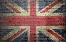 British Flag On An Old Brick Wall