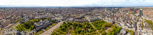 Aerial Panoramic City View of the Royal Palace of Brussels ( Palais de Bruxelles ) and the Cityscape in Belgium feat. Museums and Famous Landmarks Around Central Brussels Park and Town Hall