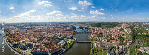 Photo  Aerial Panoramic View of Prague Cityscape in Czechia ( Czech Republic ) on a Bea