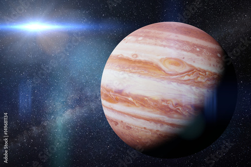 Fotografie, Obraz  planet Jupiter in front of the Milky Way galaxy and the Sun