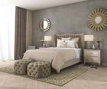 3d Rendering Classic Luxury Bedroom With Pouf And Mirror And Concrete Wall