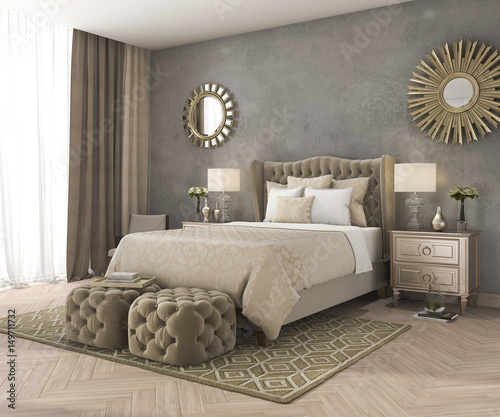 Photo  3d rendering classic luxury bedroom with pouf and mirror and concrete wall