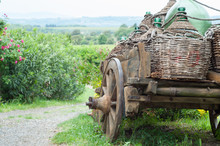 Traditional Cart In A Beautiful Landscape In Tuscany