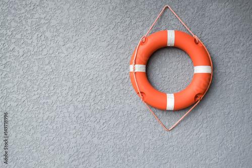 Photo Life buoy hang on the wall